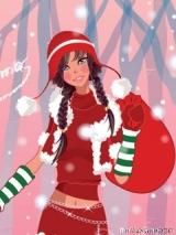 новогодняя картинка на телефон  девушка снегурочка