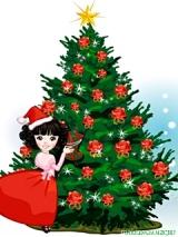 новогодняя картинка, девочка у елки